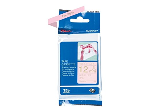 Brother TZeRE34 - Ribbon tape - Gold on pink